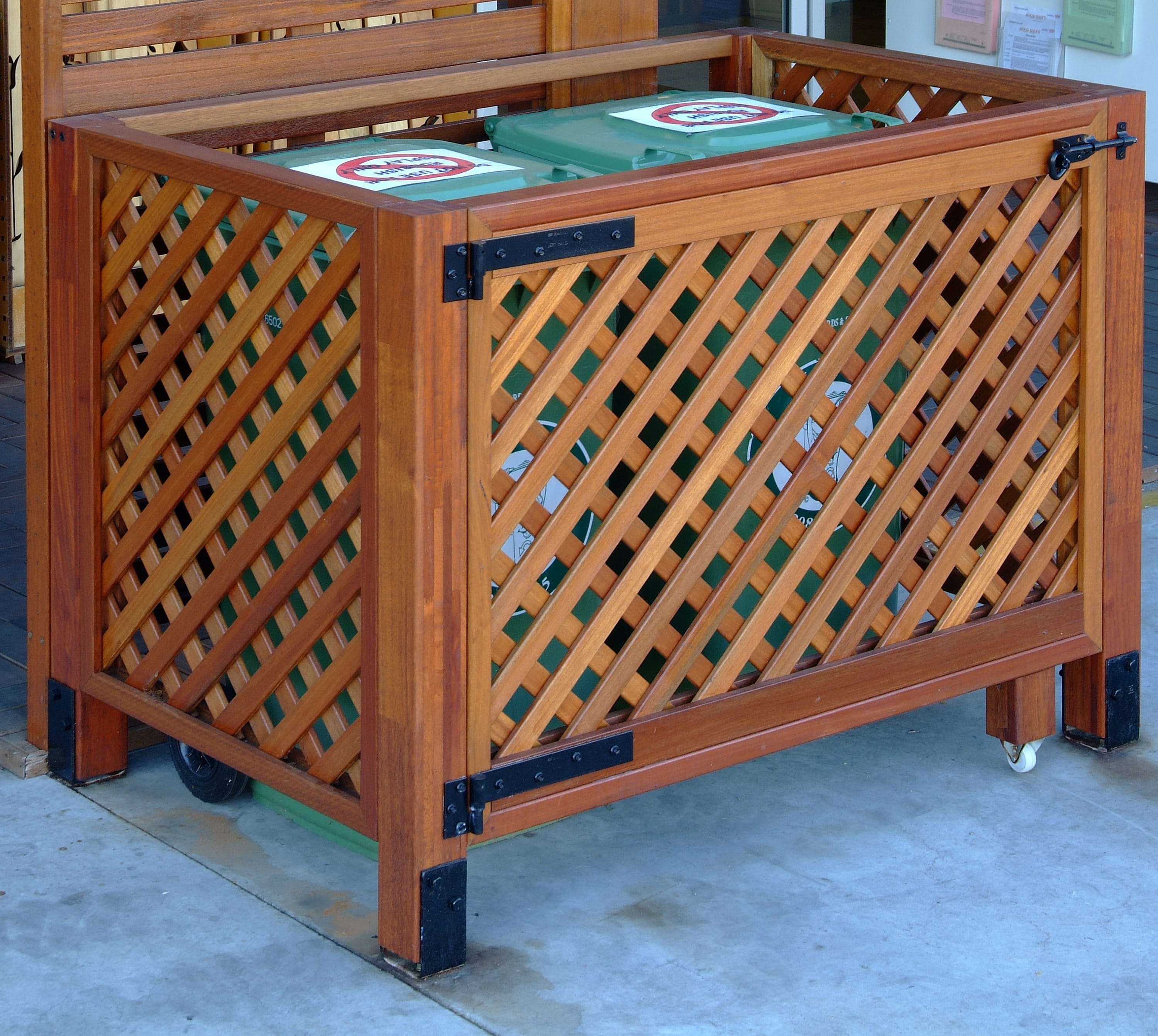 Lattice Screening Bin Enclosure available from Tradeware Building Supplies Brisbane