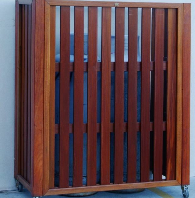 Timber Screening for Gas Bottle Enclosure featuring Pacfic Jarrah from Tradeware Building Supplies.