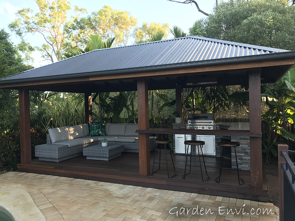 Gazebo featuring Merbau Decking with bIg end section Harwood Posts available from Tradeware Building Supplies, Chandler, Brisbane.