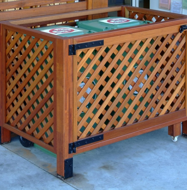 Lattice Screening Bin Enclosure available from Tradeware Building Supplies Brisbane