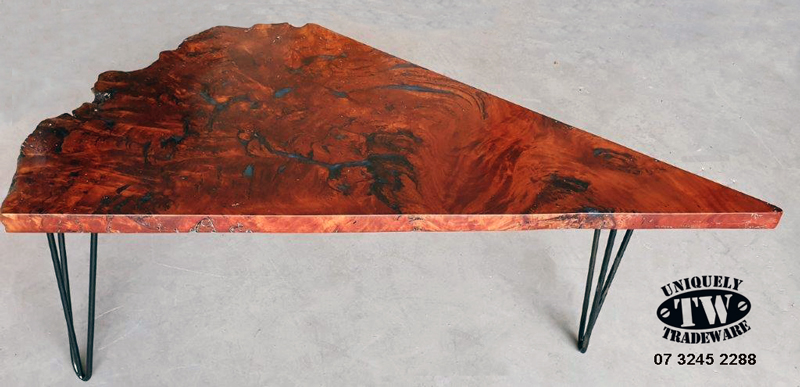 BLUE GUM BURLTABLE with blue epoxy resin - Tradeware 3245 2288 - Our craftsman have set up this beautiful peice of timber as a Coffee/Occasional Table for the Office or Lounge. 1375mm x 50mm width