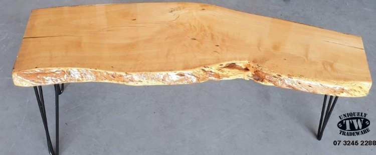 JACARANDA TIMBER COFFEE / OCCASIONAL TABLE - Gloss epoxy resin table - 1250mm in length x 470-370