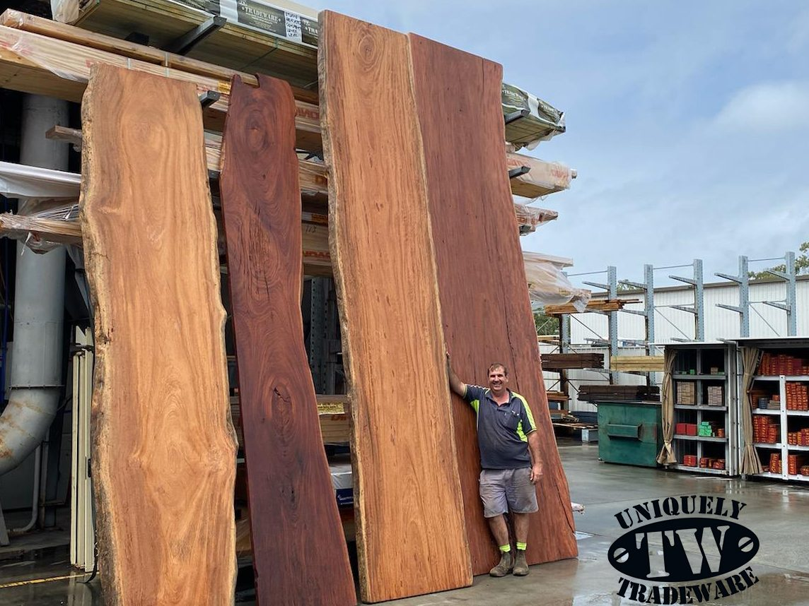 Amazing Timber Slabs from Tradeware Building Supplies , Brisbane ncluding Bluegum, Ironbark, Ana Caspi, Spotted Gum.