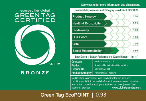 Green Tag Green Product Certificate Bronze