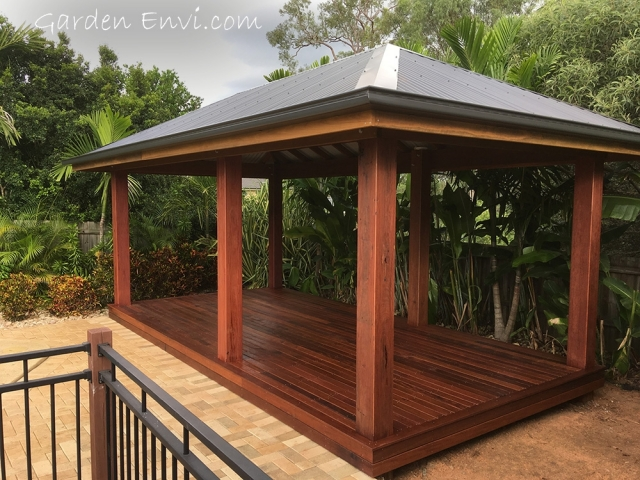 Laminated Spotted Gum Posts on Gazebo built by Garden Envi. Timber supplied by Tradeware Building Supplies, Brisbane