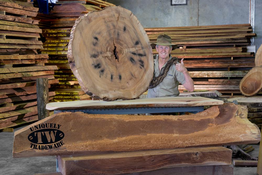 Timber Slabs - image 1-Camphor-Laurel-with-Mitch-OMara-2 on https://tradewarebuildingsupplies.com