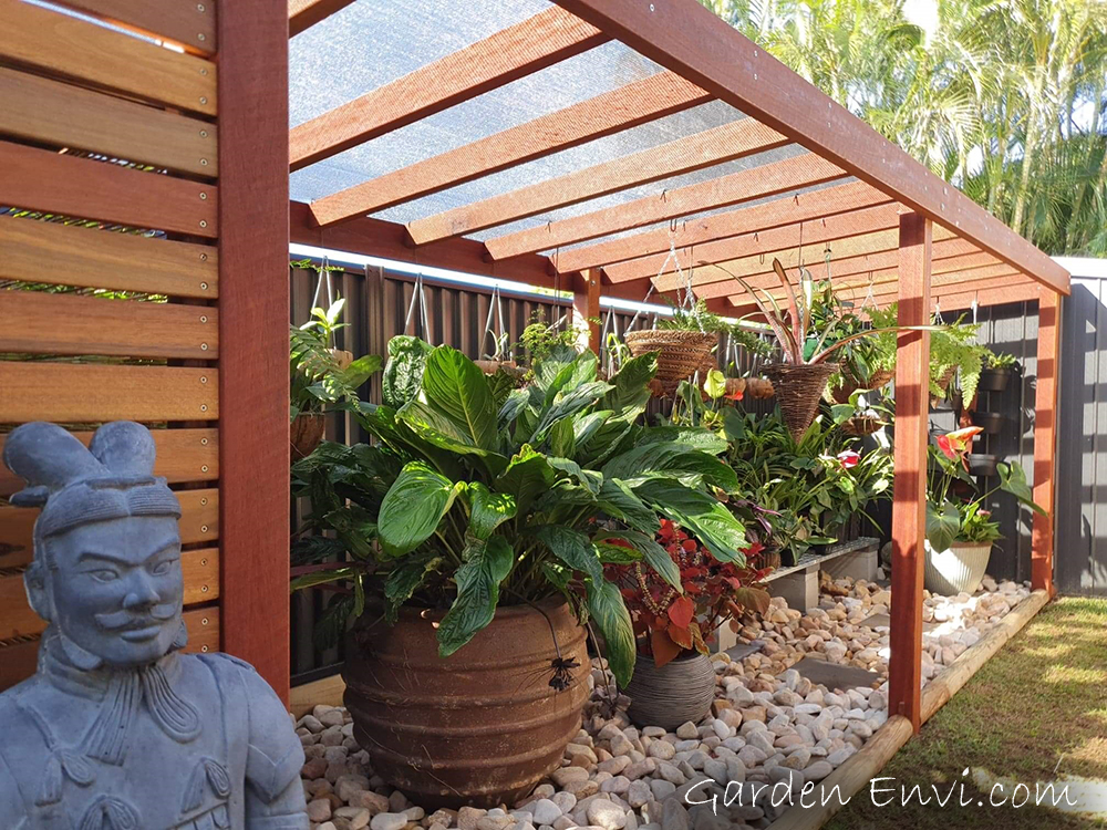 Pergola featuring Red Ironbark and Spotted Gum Screening available from Tradeware Building Supplies, Chandler, Brisbane