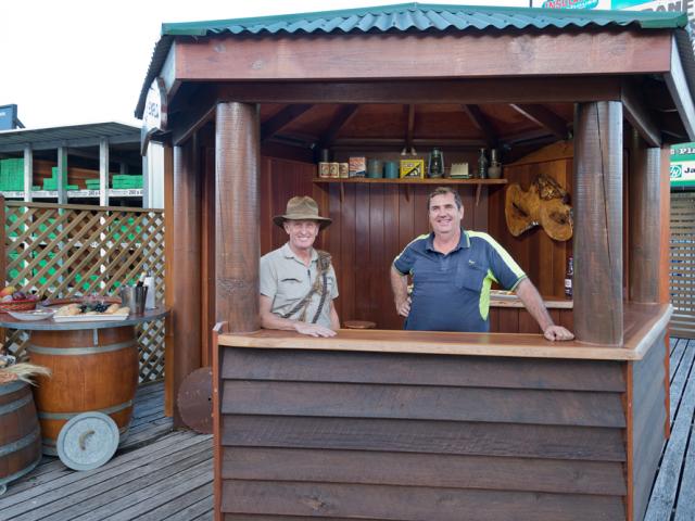 Mitch O'Mara and Dave Starling at TRADEWARE Building Supplies Display Area at Chandler, Brisbane