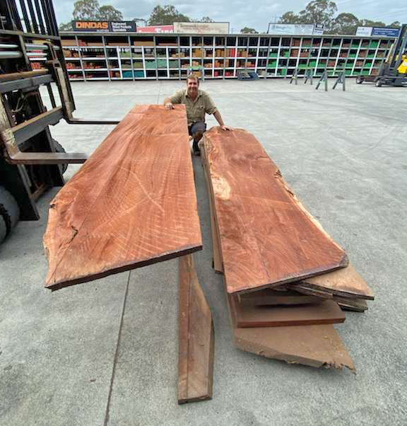 Queensland Red Cedar Slabs available from Tradeware Building Supplies.